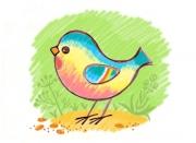 Рисуем птичку-радугу